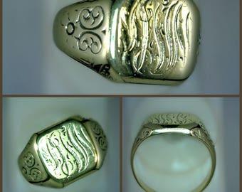 14k Yellow Gold Signet Ring, Vintage, Engraved, 12.9 grams, Size 11.5