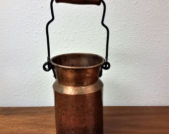 Vintage Turkey Hammered Copper Wooden / Wood Handle Pail