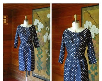 20% off weekend sale / vintage 1950s dress / 50s dark blue polka dot wiggle dress / size xs small