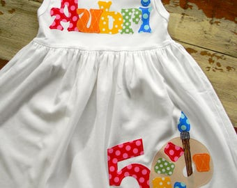 Back to School, Painting Party Dress,  - 3 color choices, Long Sleeved or Sleeveless, 3-6m to 8yrs
