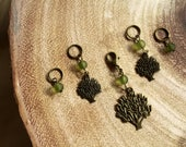 Knitting Stitch Markers - Knitting Tool - Gift for Knitters - Wishing Tree - Nature Markers - Antique Bronze