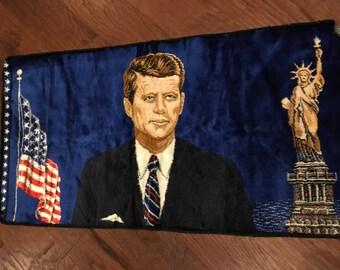 Velvet JFK Italian Wall Tapestry Rug John F Kennedy Historical Souvenir flag statue of liberty president mid century decor