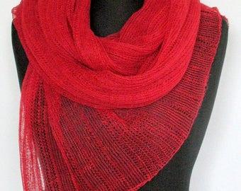 Linen Scarf Shawl Wrap Red Stole claret raspberry Light Transparent