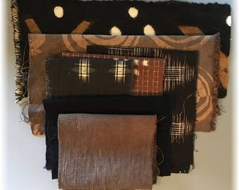 Boro Bundle /BROWN BLACK (7 pieces)...Assortment of New, Hand Dyed and Vintage Fabrics for Boro Art, Embellishment and Mixed Media