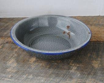 Vintage Graniteware Bowl Basin with Blue Trim