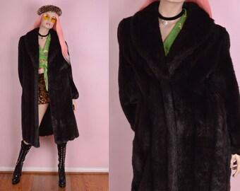 80s Dark Brown Faux Fur Coat/ US 8/ 1980s/ Jacket
