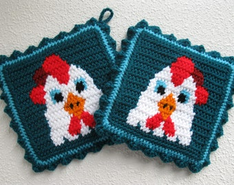 Chicken Pot Holders.  Crochet potholders with white roosters. Chicken decor