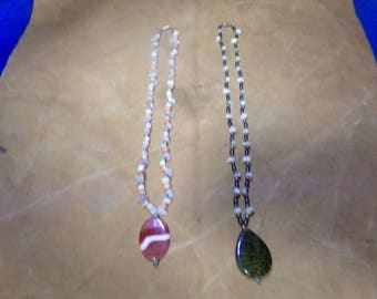 2 Hand made stone necklace glass beads jewelry