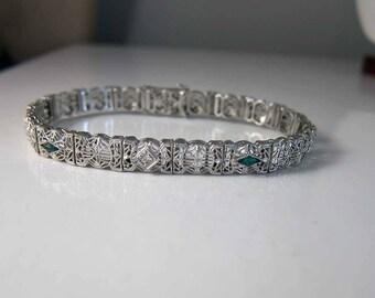 Antique Art Deco 14k Diamond Emerald Filigree Bracelet