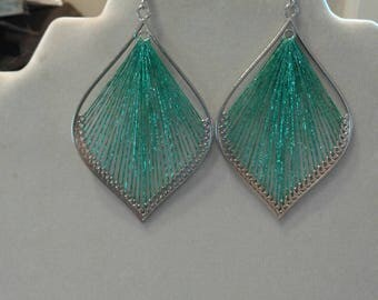 Turquoise and Silver Metallic Leaf  Sexy Thread Earrings Boho, Native, Southwester, Peruvian Style Great Gift Ready to Ship