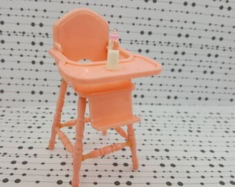 Reliable Plastics Baby  high  chair Pink   Miniature  Doll House Toy Bedroom Child Nursery Canadian Made