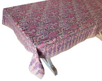 """Hand Block Printed Tablecloth  - Tree of Life Beige - 60"""" x 90"""""""