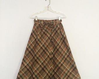 ON SALE Vintage 70s Plaid Wool Wrap Skirt / 1970s Brown Wool Skirt