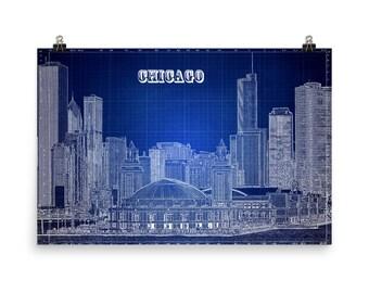 Chicago Skyline, Blue Print, Skyline Chi-Town, Blueprint Blue, Illinois, Museum Quality  Poster Print