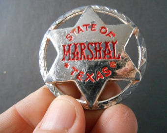 Marshal Vintage toy  Metal Badge Jewelery Accesory State of Texas Marshal Cowboy Novelty