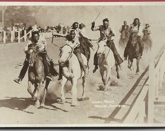 Vintage Indian races, Calgary Stampede Alberta, Canada real photo postcard RPPC 1930 X fine Canada
