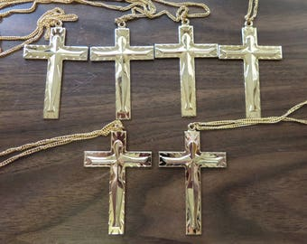 Supply Lot of 6 Large Goldtone Crosses Crucifix Chains 3in x 2in Religious