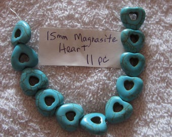 15 mm Turquoise Magnasite Heart Beads 11 pcs