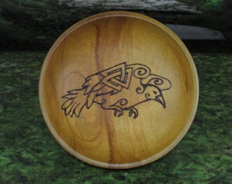 Norse Bowli, Blot Blessing Bowl, Raven & Valknut, Blot Bowl, Asatru Ritual Bowl, Asatru Blessing Bowl, Viking Blessing Bowl, Viking Bowli
