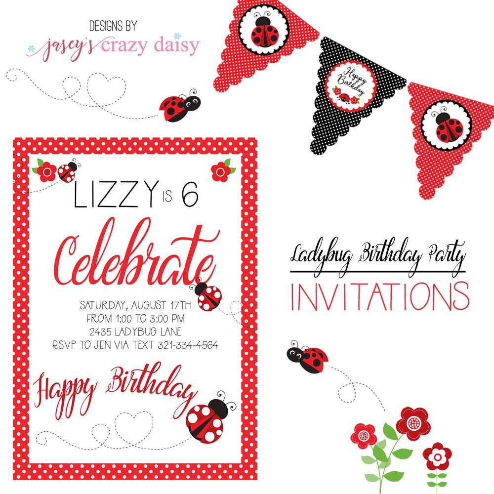 Ladybug Birthday Invitations, Ladybug Birthday, Ladybug Party ...
