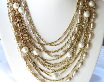 Vintage Pearl Necklace - Kramer NY - Multi Strand Faux Pearls -1950s Retro Jewelry