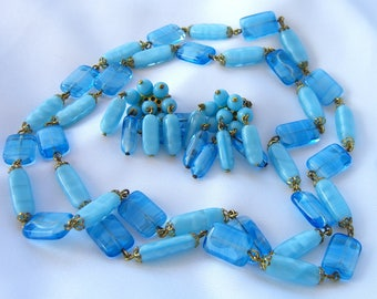 Vintage Art Glass Beads Necklace Earrings - Demi Parure Set -  Opera Length -  1950s Mid Century Retro Jewelry - Turquoise Blue