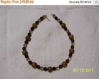 CLEARANCE 36% OFF, Wood Jasper, Ceramic and crystal necklace. sterling silver.