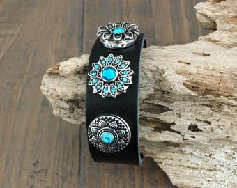 LEATHER SNAP BRACELET, 18mm Antique Silver/Turquoise Snaps x 3 (included), Black Leather Snap Bracelet, Adjusts to 2 sizes, 18mm Snaps