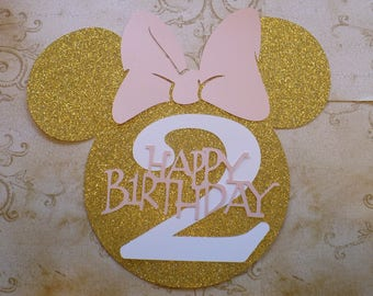1 XL Minnie Mouse Head Shape 2 yr Die Cut for crafts DIY Gold Glitter Happy Birthday Party Banners Wall Door Decorations