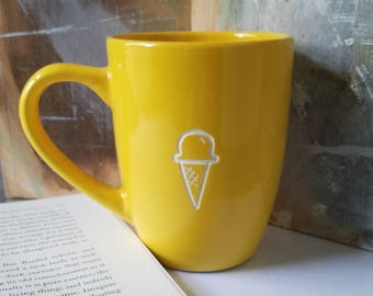 Engraved Ice Cream Cone Mug, SPECIAL EDITION, Summer Mug, Yellow Mug, Funny Coffee Cup, Best Friend Mug, Minimalist Mugs, Unique Coffee Mugs
