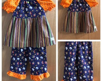Halloween Peasant Top and  Ruffle Pants, size 4t