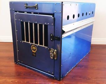 Vintage Industrial Bob Mckee Travel Dog Kennel Cage Crate Aluminum Metal Blue