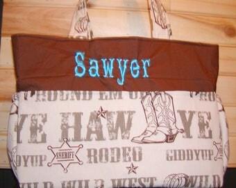 Diaper bag, handbag, purse, book bag..Ye Haw Cowboy N Brown..Customize yours now.