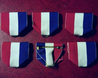 6 LAPEL pins RED WHITE & Blue ribbon vintage new for medals costumes cosplay medallions