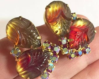 Vintage Multi Colored Molded Glass and Aurora Borealis Rhinestone Clip On Earrings