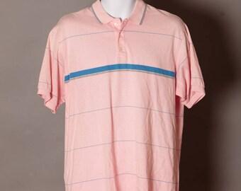 Vintage 80s 90s Men's Light Pink Polo Shirt - GANT - XL