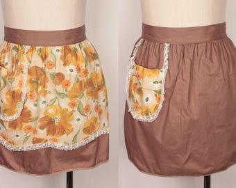 vintage apron // reversible // brown florals
