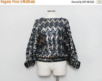 MOVING SALE Vintage Party Top. Vintage Disco Top. Chevron Top. Sequined Top. 80s Sequin Shirt. Silver Sequin. Black Sequin Top. Glam Oversiz