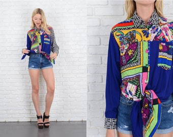 Vintage 80s 90s Patchwork Print Top Cropped Abstract Oversize Geo Neon S M 10080