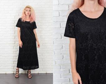 Vintage 80s Velvet Floral Burnout Dress Maxi Sheer Short Sleeve M L 10483