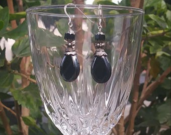 Bead Black and Silver Glass Earrings