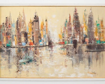 Framed Impressionist Cityscape Oil Painting