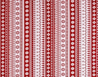 FLANNEL - Red Nordic Stripes from Henry Glass's Frosty Folks Flannel Collection