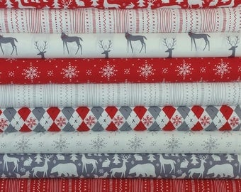 Red & Grey Woodland Winter from Michael Miller Fabrics (14 Fabrics)