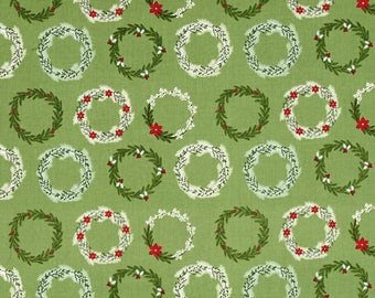 Christmas Wreaths on Green from Riley Blake's Comfort and Joy Collection By Dani Mogstad for My Mind's Eye