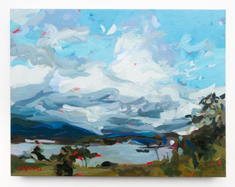 "Original Painting of Vancouver // North Shore Clouds no. 4 // 18"" x 14"" // Original Acrylic Painting on Canvas"