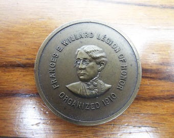 Antique 1910 Religious WCTU Suffragette Frances E Willard Medal Medallion Coin, Unique Christmas Gift For Christian, Womens Rights Activists