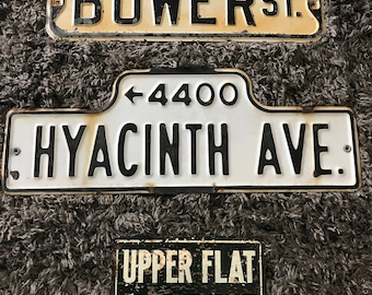 """RESERVED #2 - Vintage Street Sign - 'HYACINTH AVE.' - 24"""" x 9"""" - Authentic Original Street Sign"""