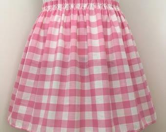 Pink Gingham Knee Length Skirt