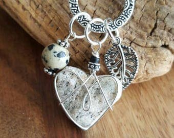 Suede Charm Adjustable Heart Necklace Coastal Jewelry